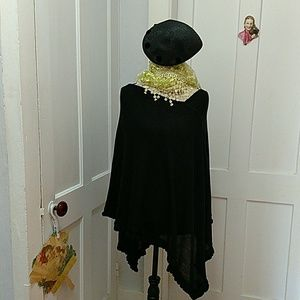 Elementz black knit pullover cape